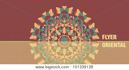 Flyer in Warm Color. Abstract Retro Ornate Mandala Background for greeting card, Brochure, Card or I