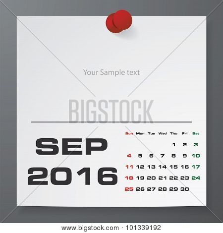 September 2016 Calendar on white paper with free space for your sample text.
