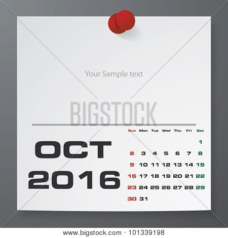 October 2016 Calendar on white paper with free space for your sample text.
