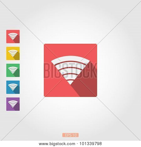 Wi-Fi - icon with long shadow, flat design.