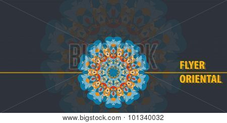 Print Flayer template design Abstract Retro Ornate Mandala Background for greeting card, Brochure, C