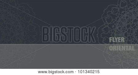 Ornamental Flayer template design in grey color. Abstract Retro Ornate Mandala Background for greeti
