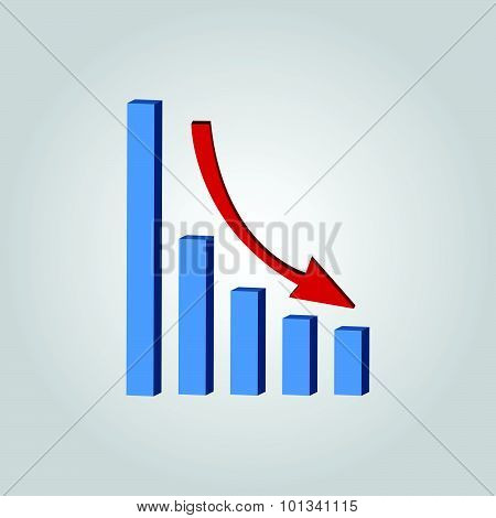 Infografic. Declining Graph Icon.