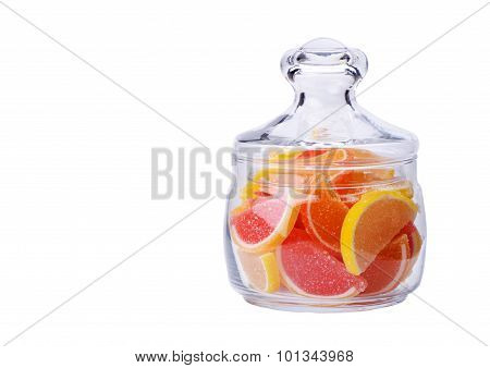 Jelly Slices With Lemon, Orange And Grapefruit In A Glass