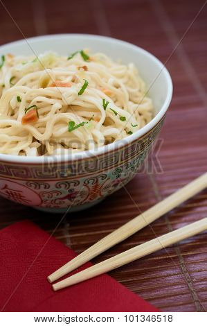 Traditional Chinese Pasta Ramen Noodles In Ceramic Bowl