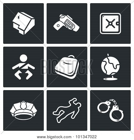 Child And Weapons Icons. Vector Illustration.