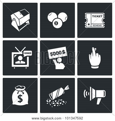 Lottery Icons. Vector Illustration.