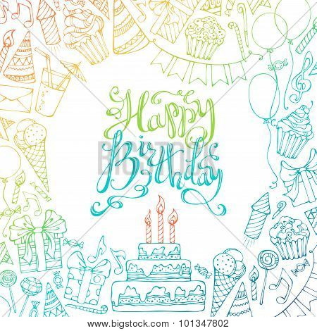 Hand-drawn Happy Birthday Square Background.