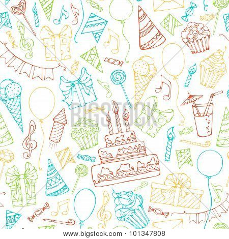 Bright Seamless Birthday Pattern.