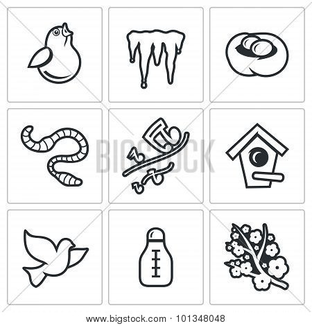 Spring Mood Icons. Vector Illustration.