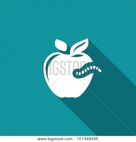 Worm-eaten Apple Icon. Vector Illustration