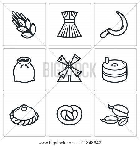Mill And Bread Icon Set. Vector Illustration