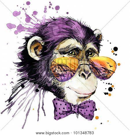 Cool monkey chimpanzee Tshirt graphics