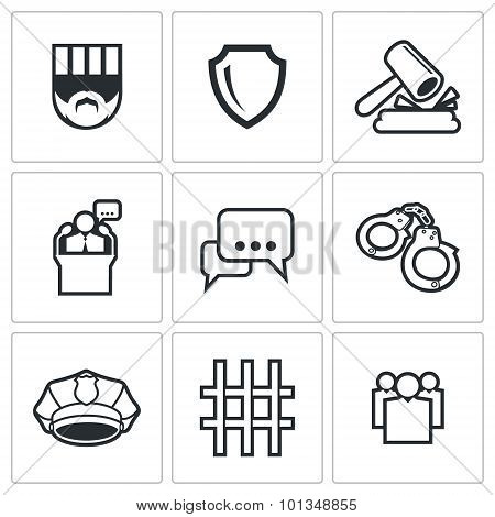 The Verdict Of The Court And Detention Icons Set. Vector Illustration