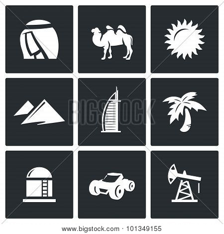 Arab Emirates Icons. Vector Illustration.