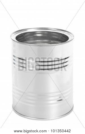 Metal Tin Can, Canned Food, Isolated On White Background