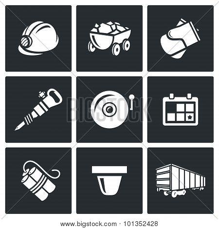 Mine Icons. Vector Illustration.
