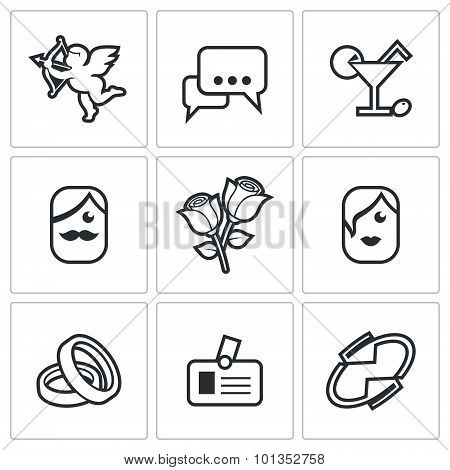 Speed Dating Icons. Vector Illustration.