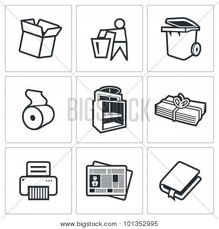 Waste Paper Icons. Vector Illustration.