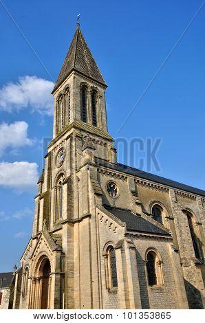 France, Historical Church Of Port En Bessin Huppain In Normandie