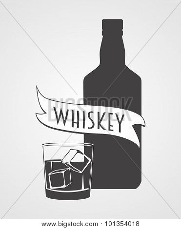 Whiskey. Logotype With Bottle And Glass