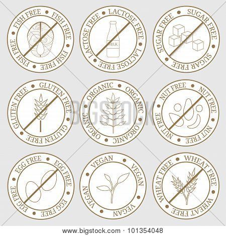 Round Labels For Allergens Free Products.