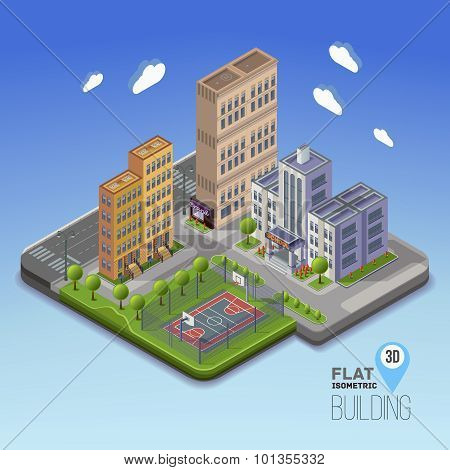 Urban landscape 3D city school area with basketball