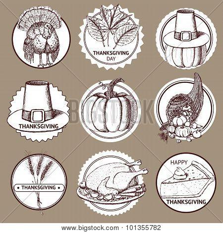 Sketch Thanksgiving Set Of Labels
