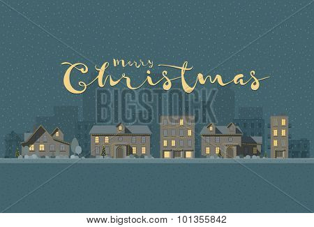 Vector flat illustration of winter city in Christmas time. Elements are layered separately in vector file. Easy editable.