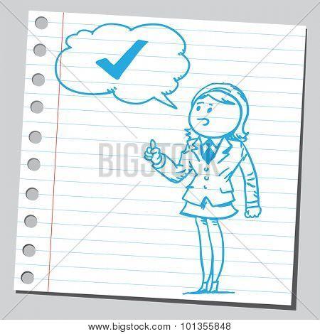 Businesswoman speaking check mark