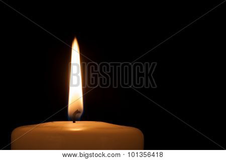 Burning Candle In The Dark With Copy Space