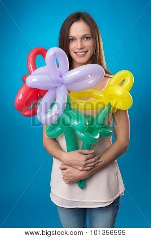 Beautiful Woman With Balloon Flowers