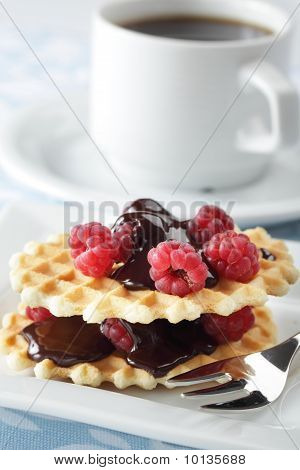 Waffles With Raspberry And Chocolate