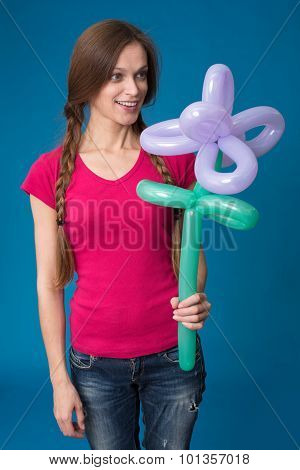 Girl With Balloon Flower