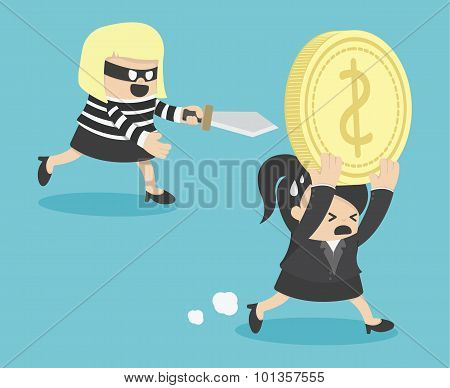 Illustration Business Woman Cartoons Concepts  Thief Stealing