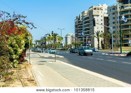 One Of The Busiest Streets In The Northern Part Of The Tel Aviv