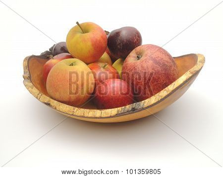 Wooden Bowl With Freshly Picked Home-grown Danish Apples