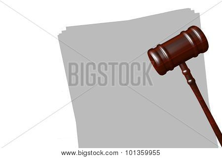 Gavel On Blank Papers