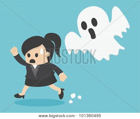 Business Woman Run Ghost