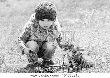 Little Girl With A Kitten Outdoors