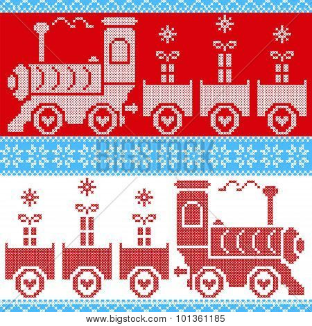 Blue, red and white Scandinavian Christmas Nordic Seamless Pattern with gravy train, gifts, stars, s