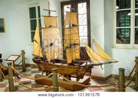 Kotor, Montenegro - September 10, 2015: Maritime Museum Of Montenegro. The Brigantine