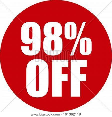 98 Percent Off Icon