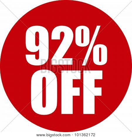 92 Percent Off Icon