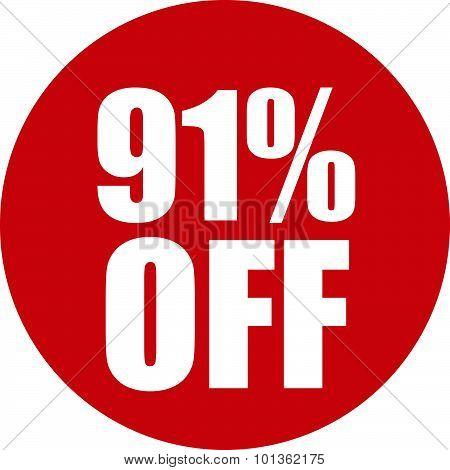 91 Percent Off Icon