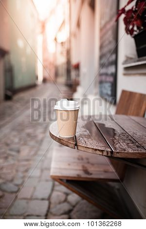 Coffee Cup On Table Of Outdoor Cafe