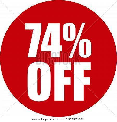 74 Percent Off Icon