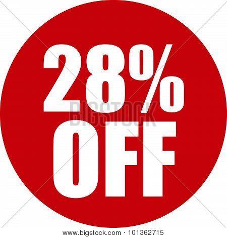28 Percent Off Icon
