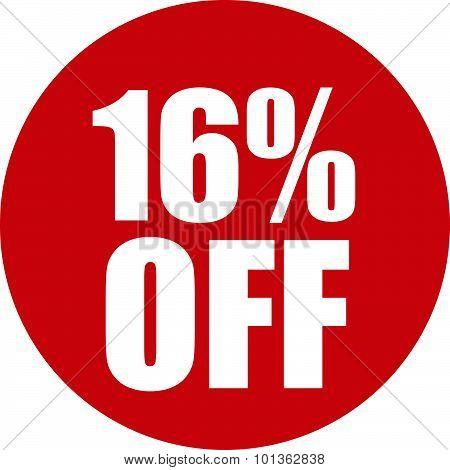 16 Percent Off Icon