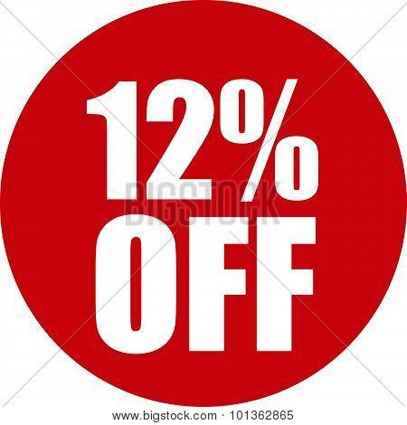12 Percent Off Icon